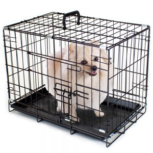 "18"" EXTRA SMALL Folding Metal Pet Crate with Removable Liner"